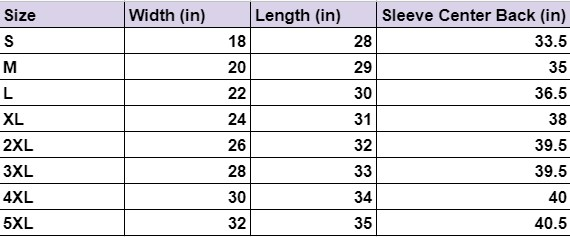 Long Sleeve Tee Size Guide